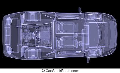 cima, concepto, coche., radiografía, vista