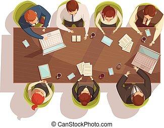 cima, concetto, riunione, affari, vista