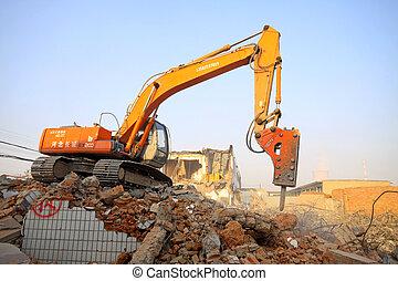 cima, construção, escombros, local, limpo, escavador