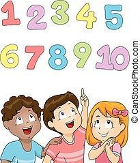 cima, crianças, números, olhar