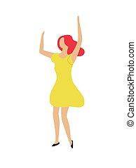 cima, dançar mulher, clubber, mãos, partido, levantamento