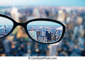 cima, de, óculos, em, cidade
