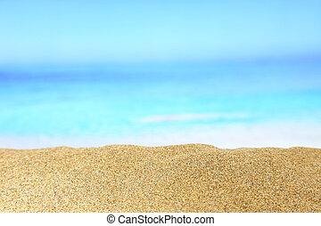 cima, de, areia dourada, com, mar, ligado, a, fundo