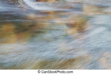 cima, de, blurry, água, fluir, ligado, rio, em, floresta