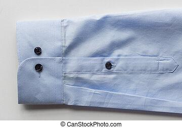 cima, de, camisa azul, manga