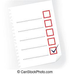 cima, de, checkbox, notepad, papel, -, ilustração