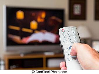 cima, de, controle remoto televisão, com, televisão