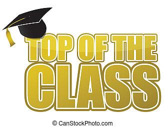 cima, de, el, clase, graduación