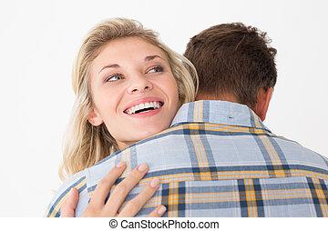 cima, de, feliz, par jovem, abraçar