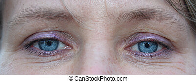 cima, de, femininas, azul, eyes., rosto, de, mulher jovem