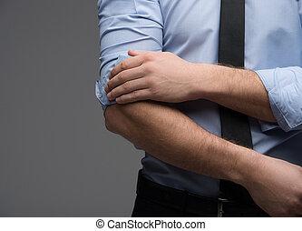 cima, de, homem, mão, jogar, sleeve., olhar, na moda, e,...