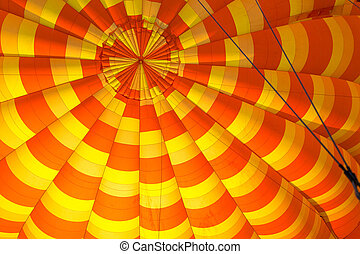 cima, de, interior, colorido, orange-yellow, ar quente, balloon.