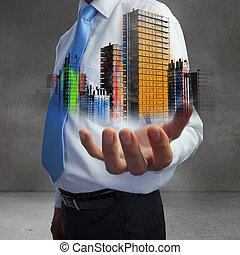 cima, de, mão, mostrando, coloridos, holographic, cidade