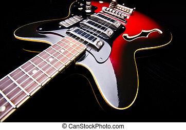 cima, de, música, guitarra