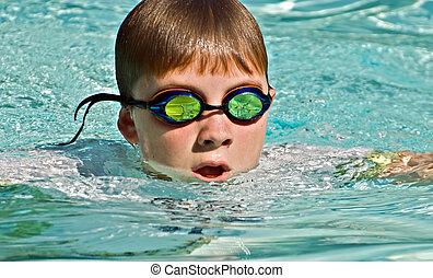 cima, de, menino, natação