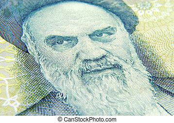 cima, de, moeda corrente, islamic, irã