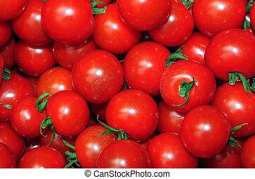 cima, de, muitos, fresco, tomates vermelhos