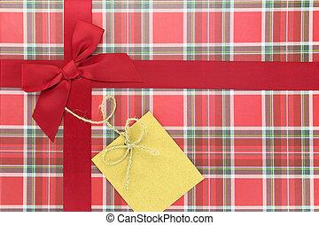 cima, de, presente, caja, con, cinta roja