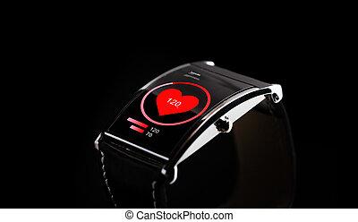 cima, de, pretas, esperto, relógio, com, taxa coração, ícone