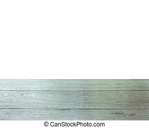 cima, de, tabla de madera, aislado, blanco, plano de fondo
