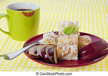 cima, de, torta maçã, servido, com, café