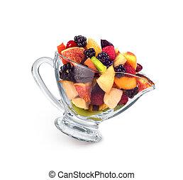 cima, de, um, coloridos, salada fruta, isolado, branco