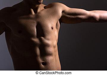 cima, de, um, esportes, homem, peito