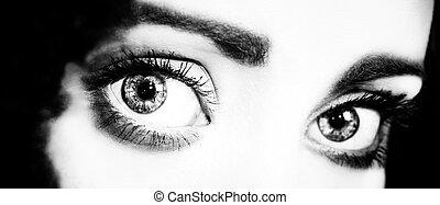 cima, de, um, womans, olhos