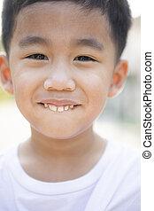 cima, dente, asiático, fim, face sorridente, crianças