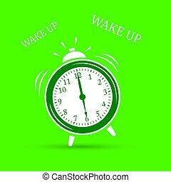cima., despertador, acordar, ícone