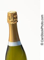 cima, di, bottiglia champagne