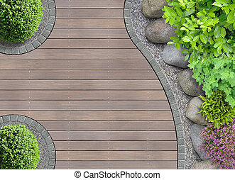 cima, diseño de jardín, vista