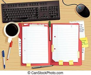 cima, documento, file, scrivania