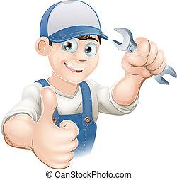 cima, encanador, ou, mecânico, polegares