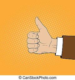 cima., estilo, illustration., vetorial, polegares, cômico