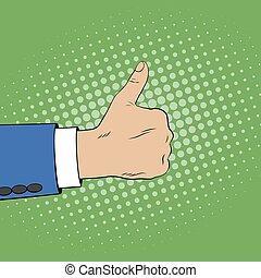 cima., estilo, semelhante, mostrando, gesture., mão, polegares, cômico