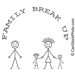cima, família, partir