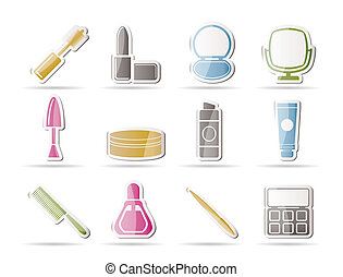 cima, fazer, cosmético, ícones