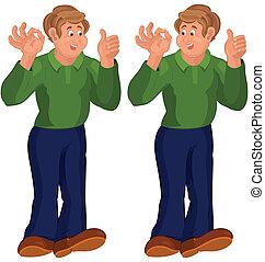 cima, feliz, posição homem, verde, polegares, topo, caricatura