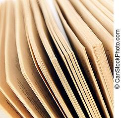 cima., fim, páginas, book.