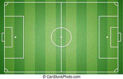 cima, football, illustrazione, fondo., vettore, field., campo di gioco, textured, verde, calcio, vista