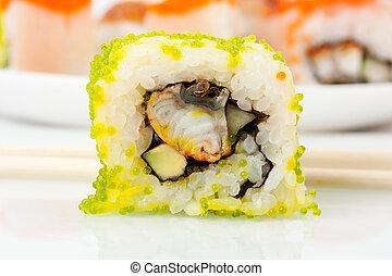 cima, foto, de, a, sushi, com, caviar, ligado, prato