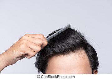 cima, foto, de, limpo, saudável, homem, hair., homem jovem,...