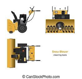 cima, frente, realista, vista., herramienta manual, lado, invierno, blower., nieve, cianotipo
