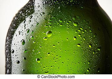cima, gelo, garrafa cerveja, fim, gelado, gotas