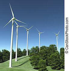 cima, generadores, colina, viento