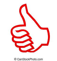 cima, gesture., polegares