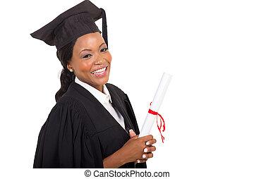 cima, graduado, americano, faculdade, femininas, fim, afro