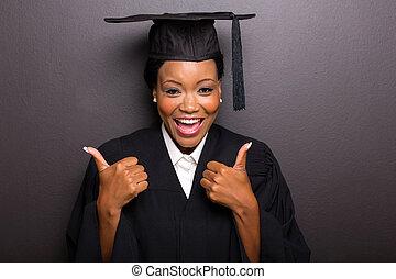 cima, graduado, americano, faculdade, polegares, femininas, afro