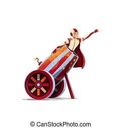 cima grande, bala de cañón, humano, caricatura, circo, ...